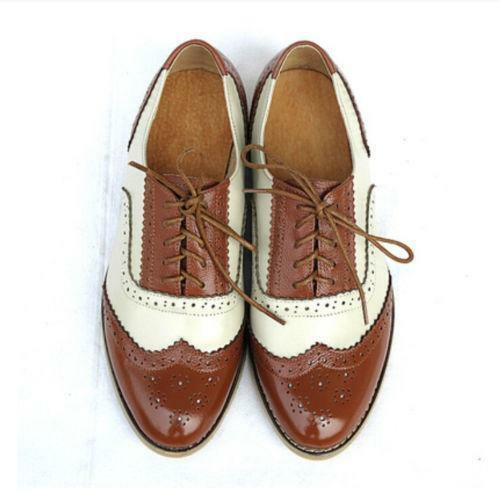Women/'s Leather Stitching Colors Oxfords Wing Tip Shoes Pointed Flat Retro Shoes