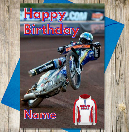 Redcar Bears Personalised Speedway Birthday Card Any NAME /& AGE