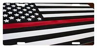 Firefighter Custom License Plate Fire Dept Emblem Usa Flag Thin Red Line 2