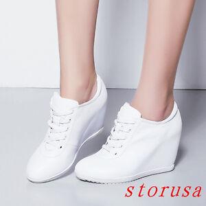 Size-Women-Lady-High-Wedge-Heel-Platform-Hi-Top-Sneakers-Shoe-Lace-UP-Platform