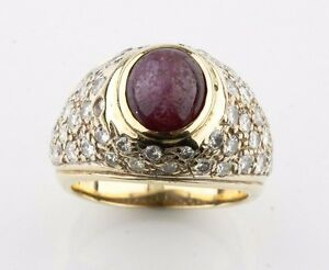 14k-Yellow-Gold-Star-Ruby-and-Diamond-Dome-Ring-Size-5-75-TCW-2-50-ct