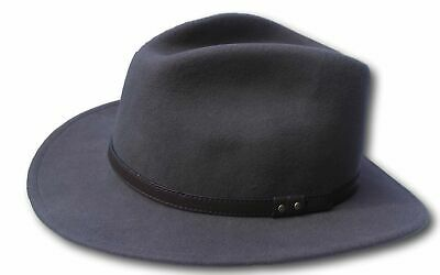 High Quality Grey Wide Brim 100% Wool Felt Fedora Trilby Hat - X Large