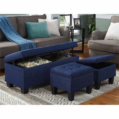 Excellent Picket House Furnishings Everett 3 Piece Storage Ottoman Set In Blue 848853030870 Ebay Gmtry Best Dining Table And Chair Ideas Images Gmtryco