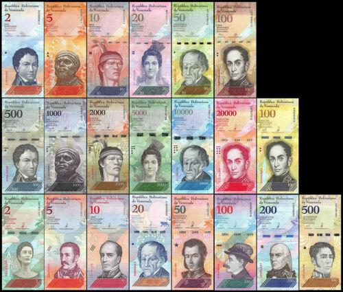 VENEZUELA 2007 2018 FULL SET 21 PCS 2-100000 /& 2-500 BOLIVARES SOBERANOS UNC-NEW