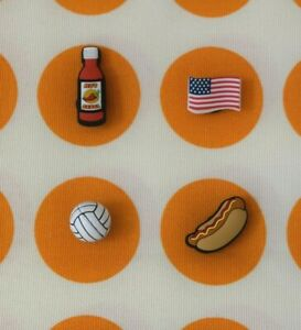 Crocs-Jibbitz-Charms-3D-Volleyball-Hot-Sauce-Hot-Dog-Flag-ALL-4-for-11-99