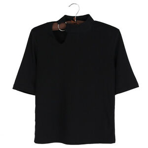 Women-Black-Hollow-Out-Round-Ring-T-shirt-Tee-Top-Basic-Short-Sleeve-Casual-Cool