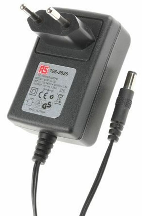 RS Pro, 15 W W W Plug In Power Supply 12 V DC, 1.25 A Niveau V 1 sortie, 2.1 x 5.5 x 9.5 02edec