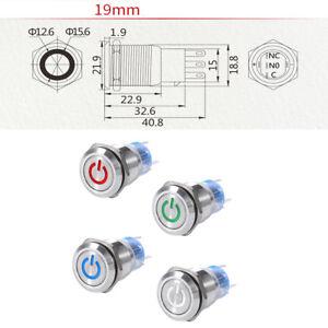 5Pin-19mm-12V-Led-Enganche-Bloqueo-Automatico-En-Off-interruptor-de-boton-IP67-IK10