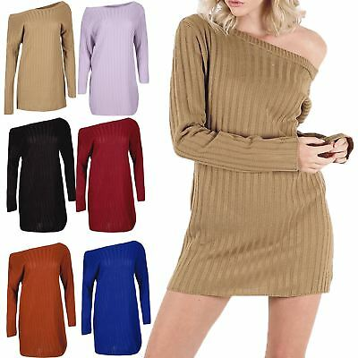 Schnelle Lieferung Womens Ladies Rib Knitted Off Shoulder Bardot Baggy Oversized Jumper Mini Dress