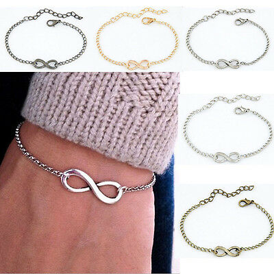 Fashion silver Gold Infinite Bracelet Infinity Bangle Charm chain for women gift
