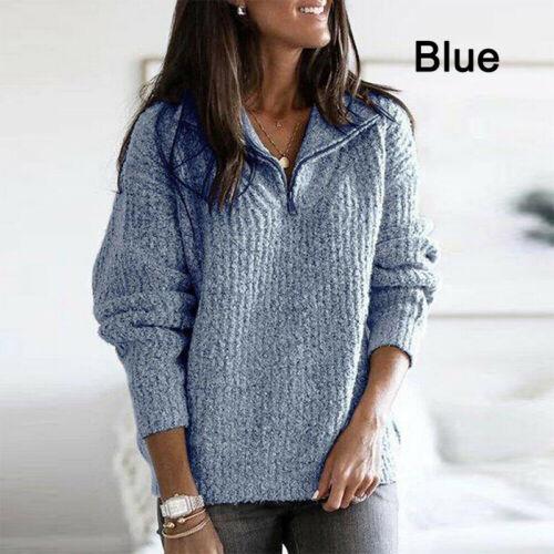 Damen Pullover Strickpullover Langarm Sweatshirt V-Ausschnitt Tops Jumper M-XXL