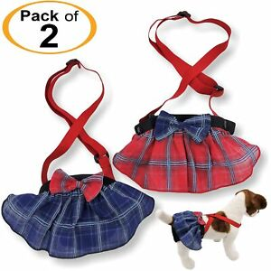 PACK-2-Female-Dog-Diapers-SKIRT-Plaid-Suspenders-Pants-Small-Large-Pet-XS-XXL