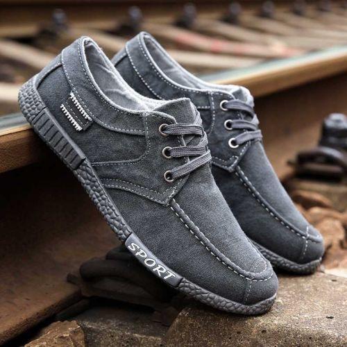 Hommes Toile Chaussures Décontractées à Lacets Mocassins Sport Shose Walking Baskets Respirant