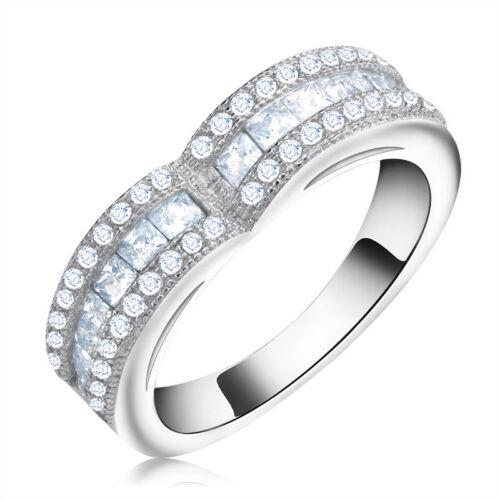 Princess/&Round Cut Cubic Zirconia Women Eternity Ring Wedding Band Jewelry