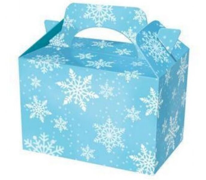 150 Frozen Weiß Snowflake Food Boxes  Birthday Party Picnic Carry Meal Box Bag