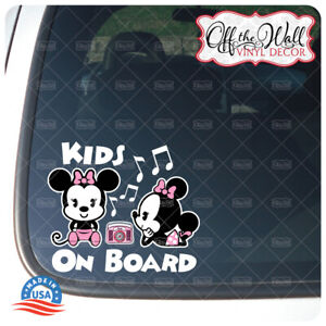 """Minnie and Minnie Mouse Cuties""""Kids On Board"""" Sign Vinyl Decal Sticker #PDCV"""