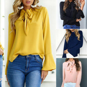 Womens-Lace-Up-Pussy-bow-Blouse-Long-Sleeve-Flare-Sleeve-Work-Shirt-Casual-Tops