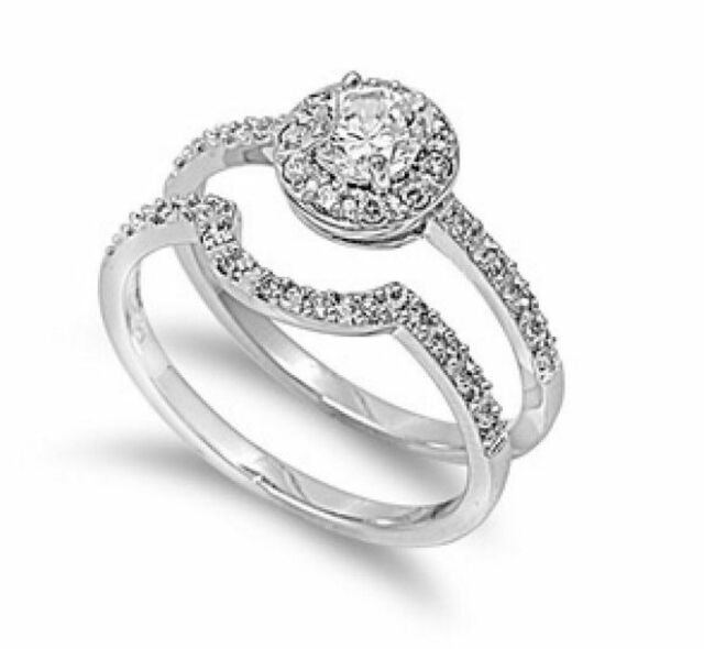 Antique Style Sterling Silver Simulated Diamond Size 6 Engagement Ring Set S1
