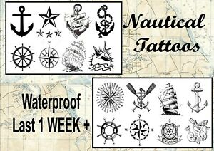 2db6324f134ab Image is loading NAUTICAL-temporary-tattoos-rudder-band-pirate-ship-anchor-