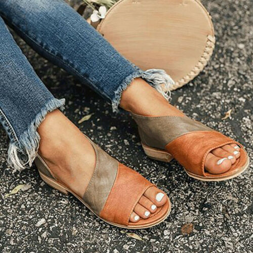 Womens Ladies Summer Flat Low Heel Sandals Peep Toe Slip On Shoes Colour Block