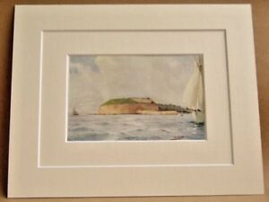 WEYMOUTH-THE-NOTHE-VERY-RARE-ANTIQUE-DOUBLE-MOUNTED-WATER-COLOUR-PRINT-1908-10X8