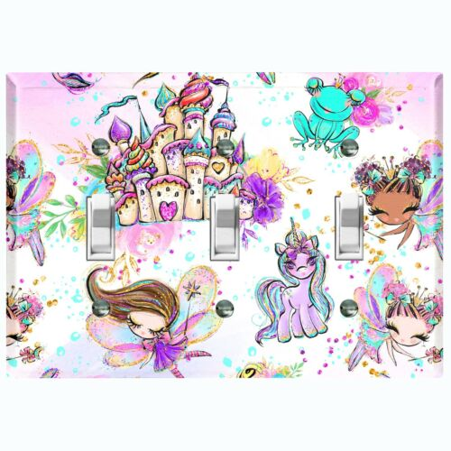 Metal Light Switch Cover Wall Plate Unicorn Fairy Cartoon Fantasy Castle FRY001