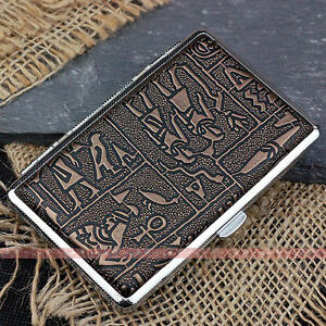 Egyptian-Slim-Metal-Cigarette-Case-Box-100-039-s-Hold-For-14-100mm-Cigarettes-308