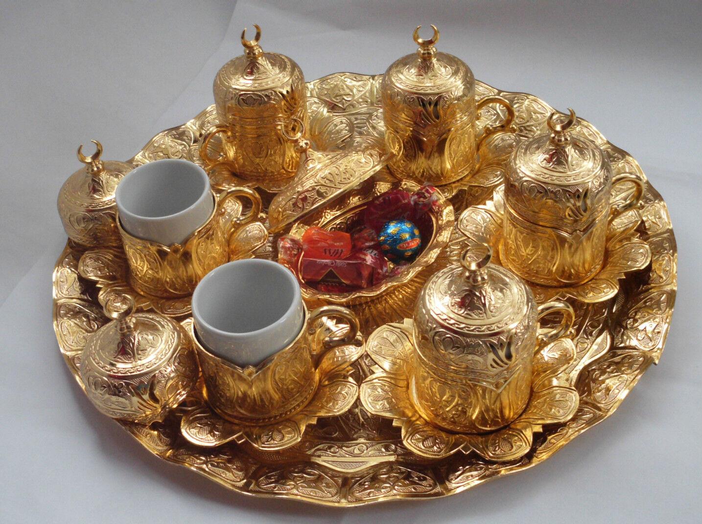 Caffè turco Set Tazze Delight BOWL PORCELLANA VASSOIO Ottomano oro Tulipano giardino
