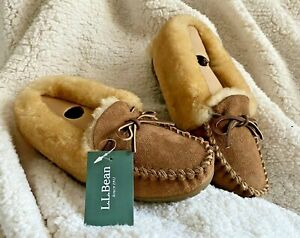 LL-Bean-Women-039-s-Shearling-Wicked-Good-Moccasin-Slippers-Size-6-NIB