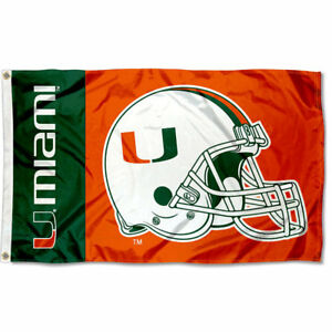 size 40 07773 f7e72 Details about Miami Hurricanes Football Helmet Flag 3x5 Large Banner