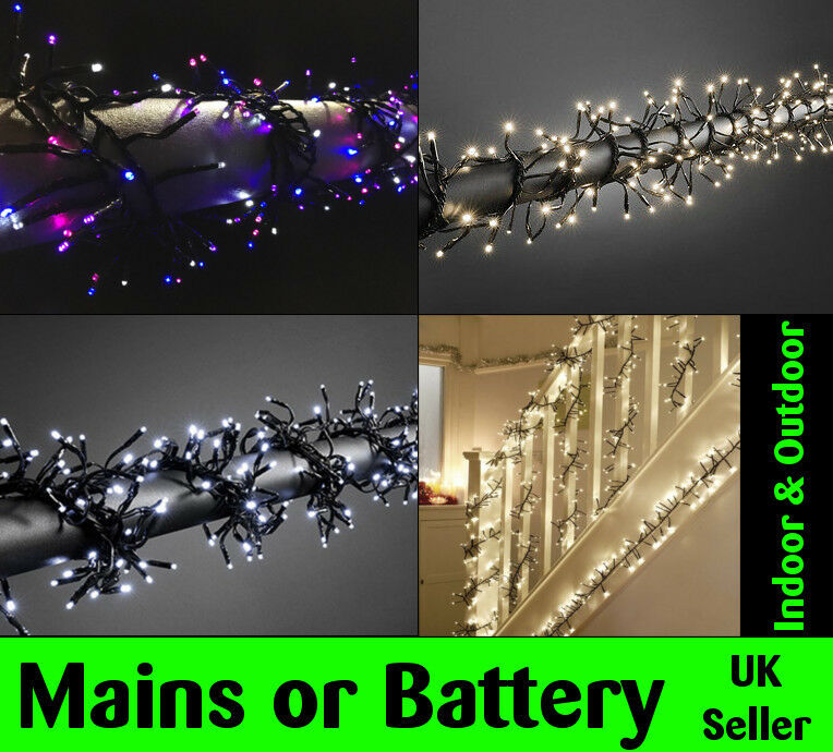 LED Cluster Battery Mains Operated WATERPROOF Outdoor Xmas Lights Christmas Tree