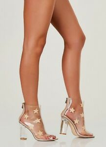 18dfc0e80cc Details about Clear Perspex Stars Print Peep Toe Lucite Chunky Heel Ankle  Booties US 6-11 H190