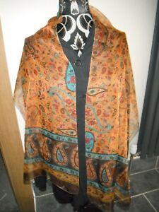 (c) Neufs Cornelia James Long écharpe En Gauzey Orange & Turquoise Paisley Design.-afficher Le Titre D'origine