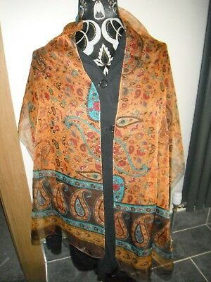 (c) Mai Indossato Cornelia James Sciarpa Lunga In Gauzey Arancione & Verde Paisley Design.- Forma Elegante