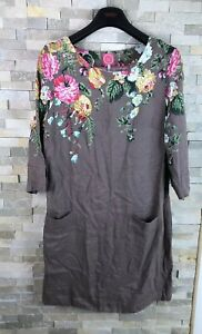 Joules-Ladies-Size-14-Long-Sleeve-Floral-Dress