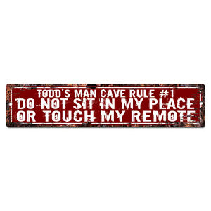 SPFR0088 TODD'S MAN CAVE RULE Street Tin Chic Sign Home man cave Decor