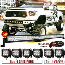 "52inch Combo LED Light Bar + 6x 4"" CREE Pods Off Road Driving SUV Bumper Jeep 50"