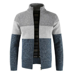 Men-Winter-Warm-Knitted-Sweater-Jacket-Coat-Thicken-Cardigan-Top-Overcoat-Trench
