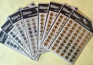 Gold-Silver-Stars-Stickers-Labels-School-Teacher-Merit-Reward-Self-Adhesive-14mm