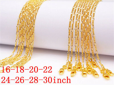 10PC 16-18-20-22-24-26-28-30inch Jewelry 18K GOLD FILLED Figaro Chains Necklaces