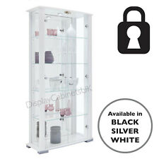 cd4c514be Home Stella 2 Door Glass Display Cabinets Lockable Extra Wide Black White  Silver