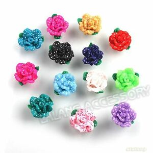 13x-110465-FREE-SHIPPING-Mixed-Dots-Flower-Flatback-Polymer-Clay-Beads-15mm