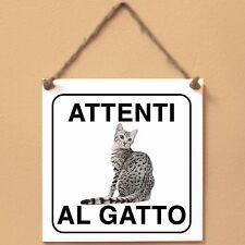 Mau egiziano 2 Attenti al gatto Targa gatto cartello ceramic tiles
