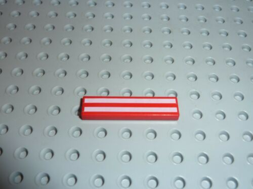Set 6345//6646 2431p51 LEGO Red Tile 1 x 4 with Long White Stripes Pattern Réf