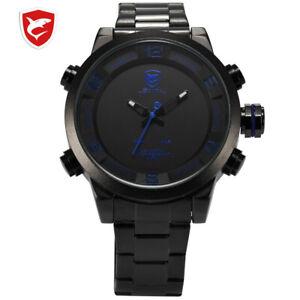 Shark Sport Watch Large Dial Black Outdoor Men LED Digital Wristwatches W/proof