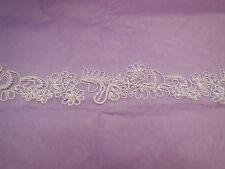 White Embroidered beads English lace trim Bridal Wedding tulle Veil trim PerYard