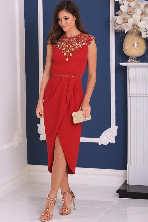 Virgos Lounge rot Danica Wrap Embellished Neck High Neck Midi Party Dress 8 36