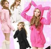 Cute Ladies Women Bunny Ears Warm Sherpa Hoodie Jacket Top Coat Outerwear W3LE