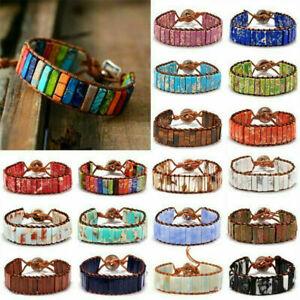 Handmade-Jewelry-7-Chakra-Natural-Stone-Tube-Beads-Bracelet-Leather-Wrap-Bangle