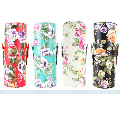 Pro Floral Cosmetic Makeup Brushes Cosmetic Brush Set Tool Kit Cup Holder Case